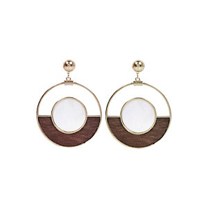 Brown wood dangle earrings