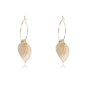 Yellow filigree leaf hoop earrings
