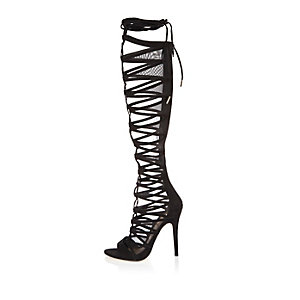 Black lace-up high leg caged heels