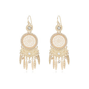 Gold tone ethnic diamanté dangle earrings