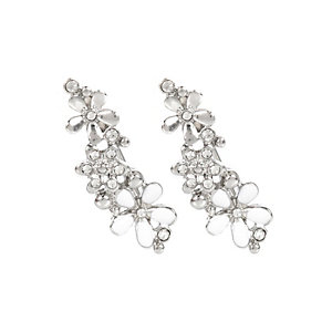 White flower ear cuffs