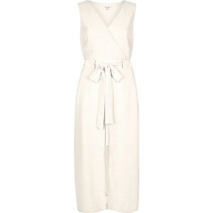 Cream layered wrap dress