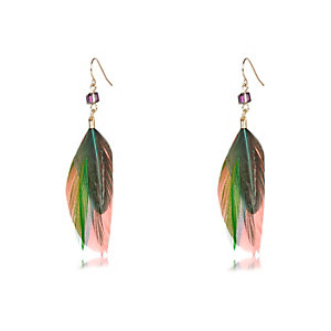Gold tone multicolored feather earrings