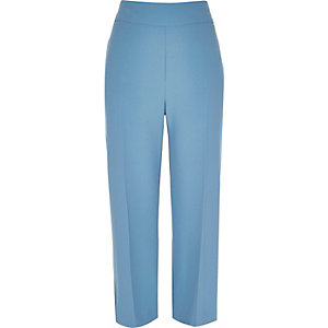 Light blue wide leg crop pants