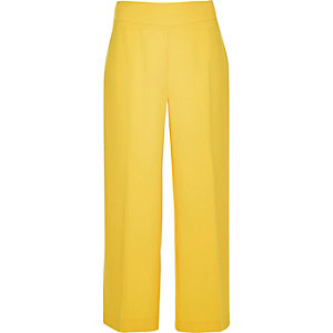 Yellow cropped wide leg pants