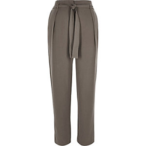 Khaki soft tie waist tapered pants