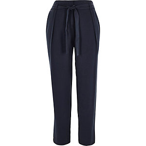 Navy high waisted tapered pants