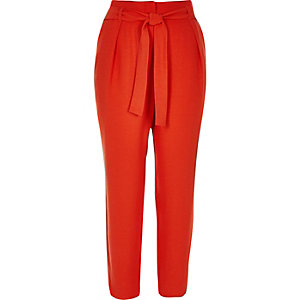 Red soft tie waist tapered pants