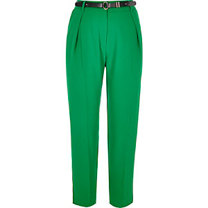Green smart tapered belted pants