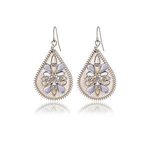 White filigree dangle earrings
