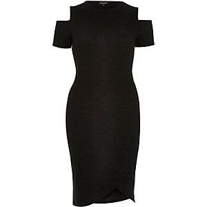 Black bodycon cold shoulder dress