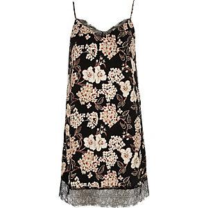 Black floral print slip dress