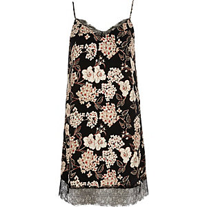 Black floral print slip dress