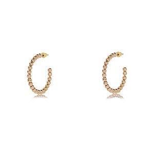 Gold tone bobble hoop earrings