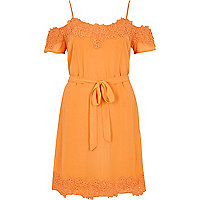 Orange cold shoulder lace detail dress