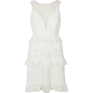 White frilly lace dress