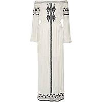 White embroidered bardot maxi dress