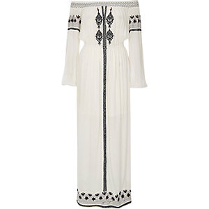 White embroidered bardot maxi dress