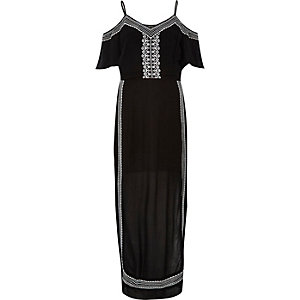 Black embroidered bardot maxi dress