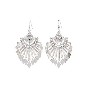 Silver tone embellished dangle earrings