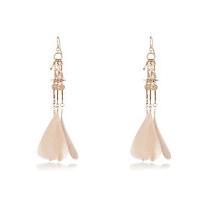 Gold tone feather earrings