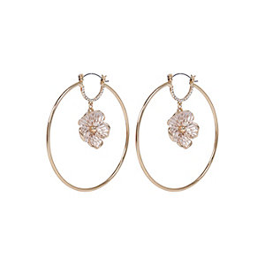 Gold tone vintage flower hoop earrings