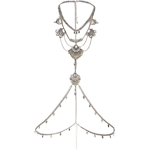 Silver tone chain harness