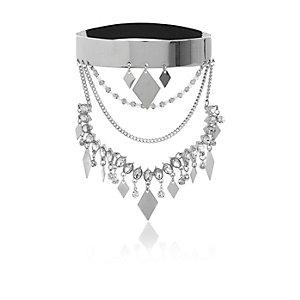 Silver tone embellished arm cuff