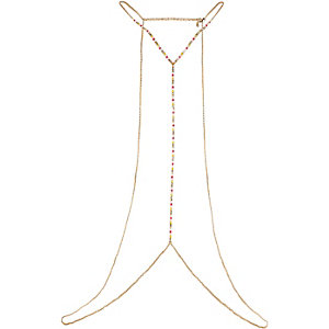 Gold tone beaded body harness