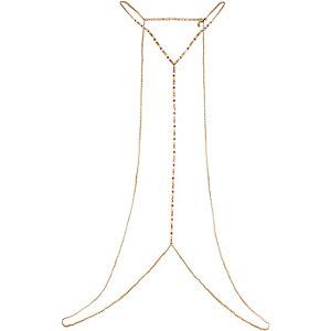 Gold tone beaded body harness