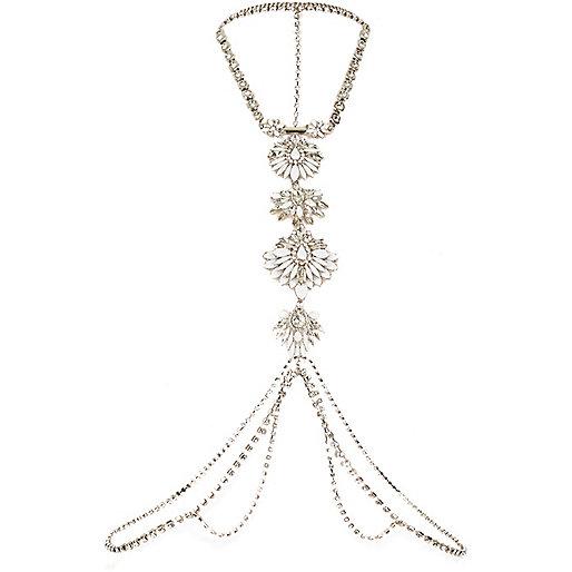 Silver tone chain body harness
