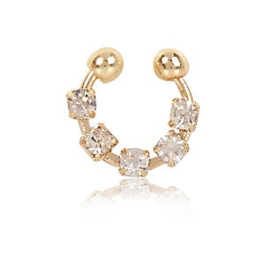 Gold tone diamanté nose cuff