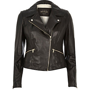 Black quilted leather biker jacket