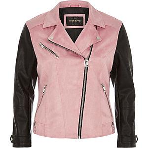Pink block biker jacket