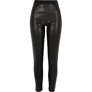 Black leather-look front leggings