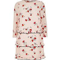Pink print ruffle dress