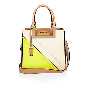 Yellow medium asymmetric tote handbag