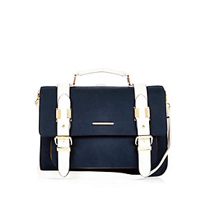 Navy medium satchel handbag