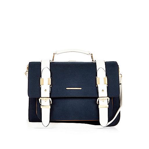 Navy medium satchel handbag