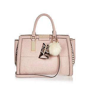 Pink faux suede tote handbag