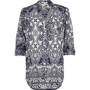 Navy paisley print shirt