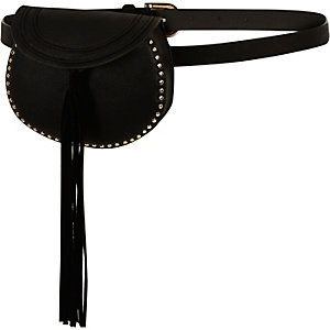 Black tassel purse belt