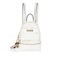 White laser cut backpack