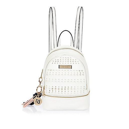 White laser cut backpack