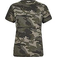 T-shirt camouflage kaki ajusté