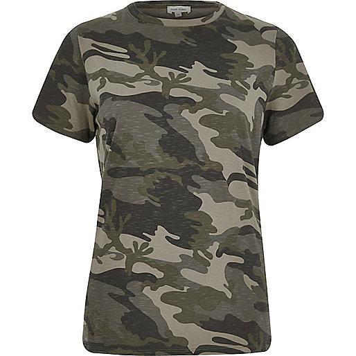 Khaki camo fitted T-shirt