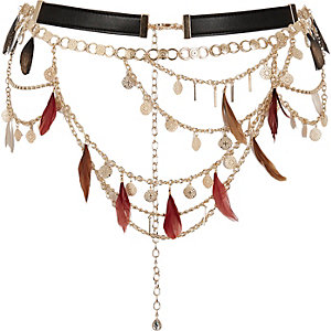 Gold tone feather chain belt