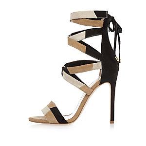 White patchwork tie-up heels