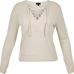 RI Plus cream lace-up top