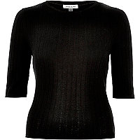 Black ribbed crew neck t-shirt